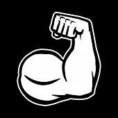 Strong Bodybuilder Biceps Flex Arm Vector Icon poster