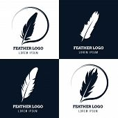 Feather, elegant pen, law firm, lawyer, writer literary vector logos set. Emblem with fluffy plume silhouette illustration poster
