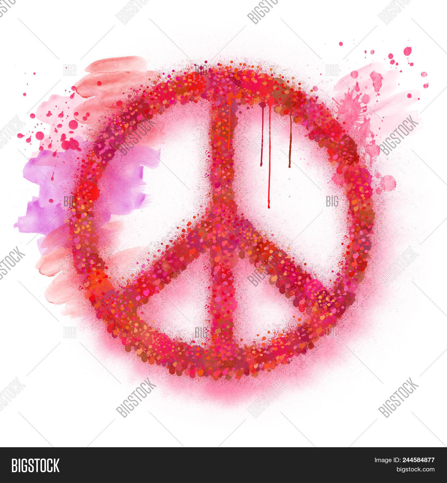 Watercolor Peace Sign Image Photo Free Trial Bigstock