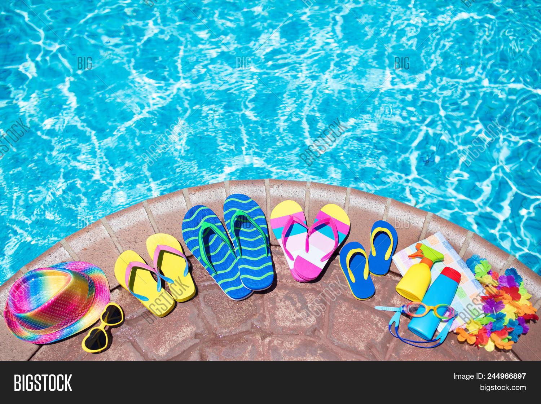 Beach bikini laying pool