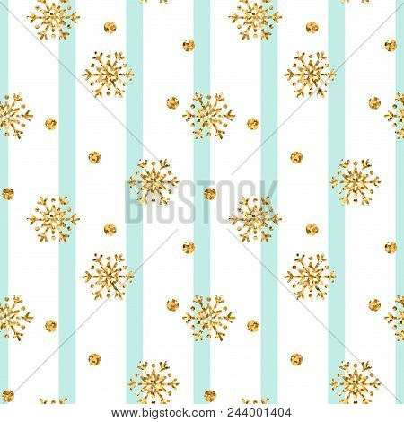 Christmas Gold Snowflake Seamless Pattern. Golden Glitter Snowflakes On Blue White Lines Background.
