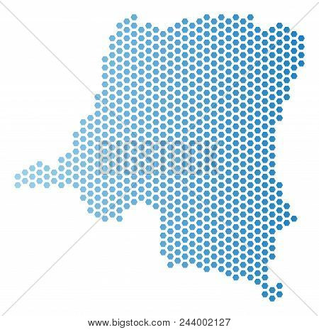 Hexagon Democratic Republic Of The Congo Map. Vector Geographic Scheme In Light Blue Color With Hori