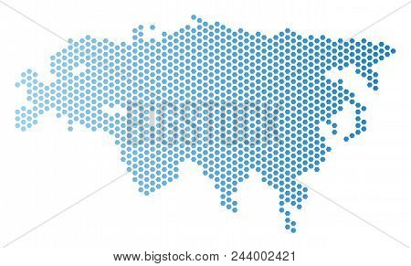 Honeycomb Eurasia Map. Vector Geographic Plan In Light Blue Color With Horizontal Gradient. Abstract