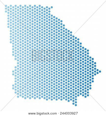 Hex Tile American State Georgia Map. Vector Territory Scheme In Light Blue Color With Horizontal Gra
