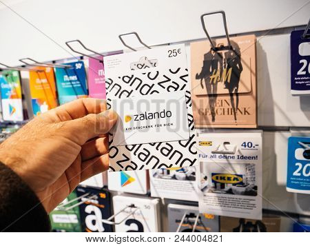 Frankfurt, Germany - Oct 6, 2017: 50 Euro Card In Man Hand Point Of View Customer Shopping For Prepa