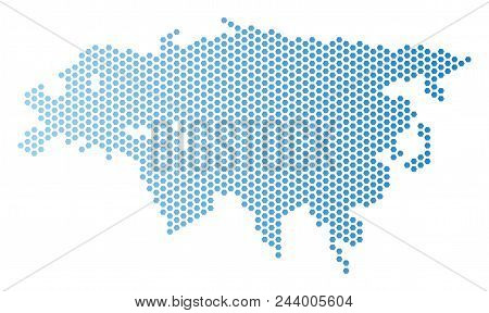 Hex Tile Europe And Asia Map. Vector Territory Plan In Light Blue Color With Horizontal Gradient. Ab