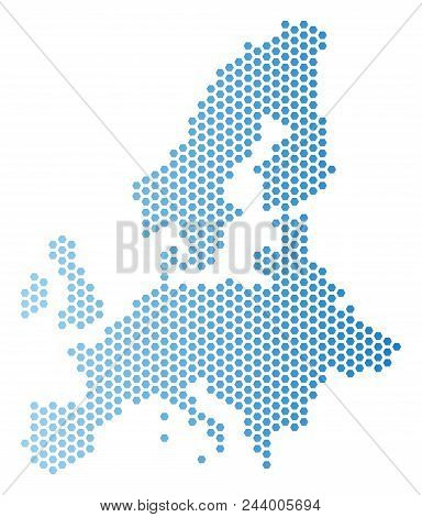 Hex-tile European Union Map. Vector Geographic Plan In Light Blue Color With Horizontal Gradient. Ab