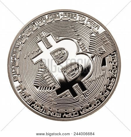 Studio Shot Of A Bitcoin Physical Silver Coin Isolated Over A White Background. Bitcoin Is A Blockch