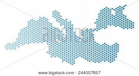 Hexagon Mediterranean Sea Map. Vector Territorial Plan In Light Blue Color With Horizontal Gradient.
