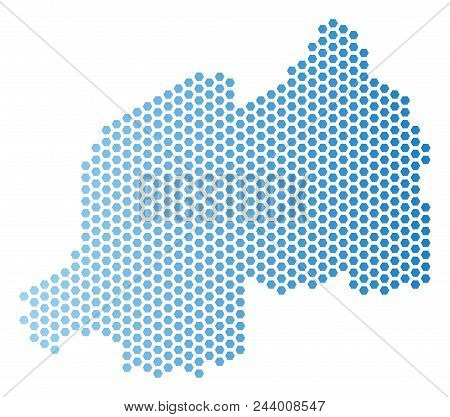 Hexagonal Rwanda Map. Vector Geographic Plan In Light Blue Color With Horizontal Gradient. Abstract