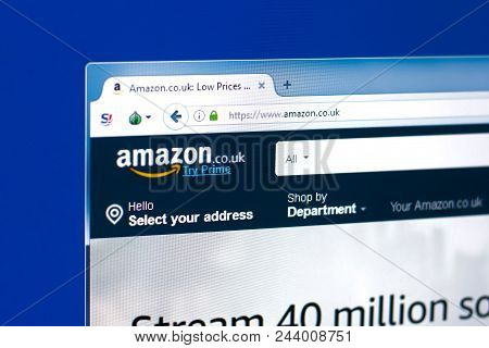 Ryazan, Russia - March 28, 2018 - Homepage Of Britain Amazon Service On The Display Of Pc, Web Addre
