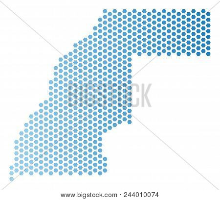 Hexagonal Western Sahara Map. Vector Territorial Plan In Light Blue Color With Horizontal Gradient.