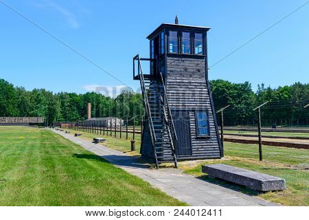SZTUTOWO - MAY 28: Wooden watchtower in the concentration camp Stutthof in Sztutowo, Poland on May 28, 2018. Stutthof was the largest German concentration camp on Polish territory during World War II.