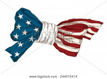 American Independence Day. Symbols Of Independence Day. A Balloon In The Shape Of A Heart, A Piece O