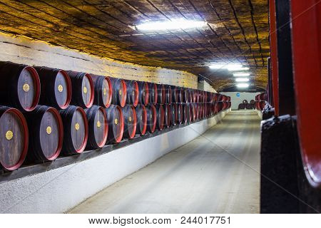 Moldavia Chisinau May 2018: Storage Barrels In The Famous Cellars Of The Winery, At A Constant Tempe