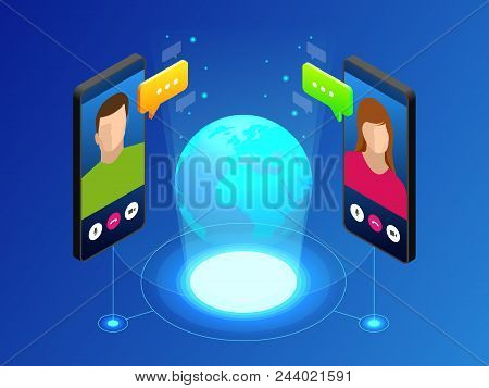 Isometric Concept Of World Global Communication With Long Distance. Man And Woman Communicating Thro