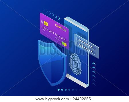 Isometric Personal Data Protection Web Banner Concept. Cyber Security And Privacy. Traffic Encryptio