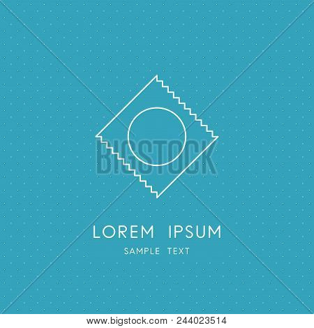 Condom Outline Symbol - Prophylactic Or Rubber On The Blue Dotted Background. Safe Sex And Safety, C