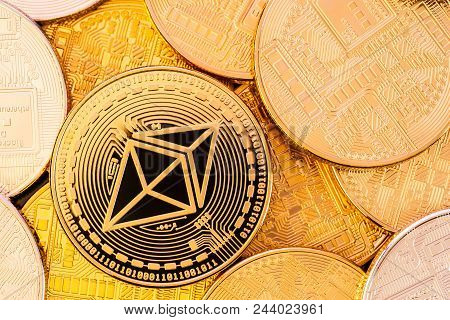 Golden Shiny Ethereum Coins Closeup