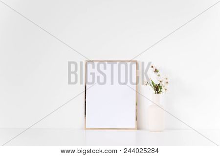 Gold Frame Mock Up With Spring Cherry Bouquet. Mock Up For Your Photo, Design Or Text.