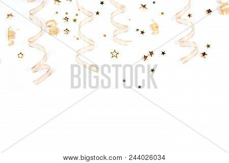 Golden Christmas Decorations On White Background. Christmas Greeting Concept.