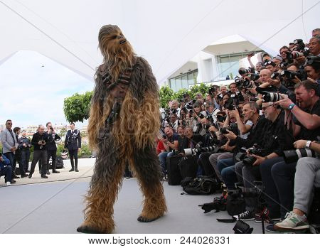 Chewbacca attends the photocall for 'Solo: A Star Wars Story' during the 71st annual Cannes Film Festival at Palais des Festivals on May 15, 2018 in Cannes, France.