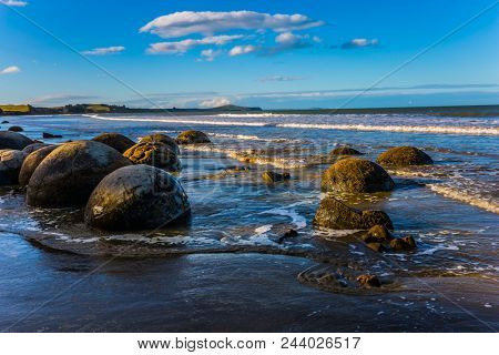 Ocean evening tide. Travel to New Zealand. The concept of active, eco and photo tourism. Boulders Moeraki -  large spherical boulders on the beach Koekokhe