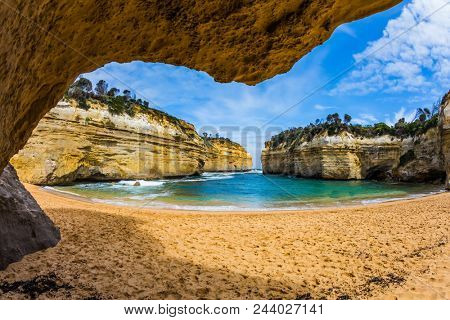 Pacific coast - bays, rocks and arches. Australia. Great ocean road along the Pacific coast. The concept of active and automobile tourism