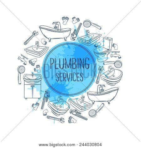 Plumbing Service Banner. Hand Drawn Shower, Bathroom Sink, Toilet, Sanitary Wrench And Tap For House