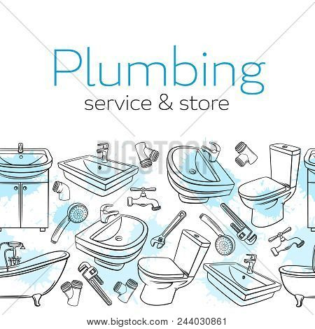 Plumbing Seamless Border. Hand Drawn Shower, Bathroom Sink, Toilet, Sanitary Wrench And Tap For Hous