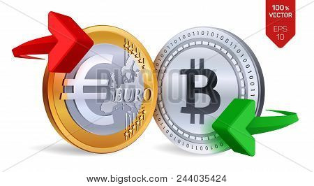 Bitcoin To Euro Currency Exchange. Bitcoin. Euro Coin. Cryptocurrency. Golden And Silver Coins With