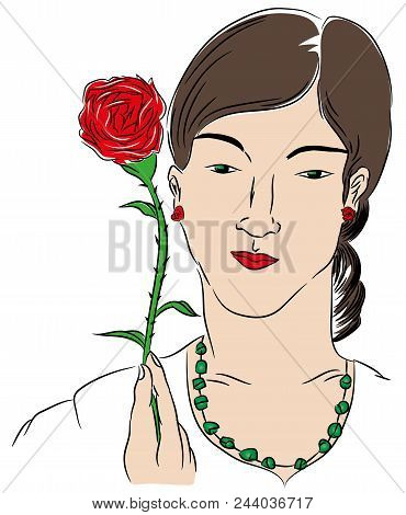 Woman And Rose.   Woman Holding A Red Rose. Illustration Of Beautiful Woman Holding Rose With Hand.