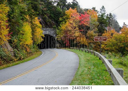 Rough Ridge Tunnel With Sign In Autumn Along The Blue Ridge Parkway