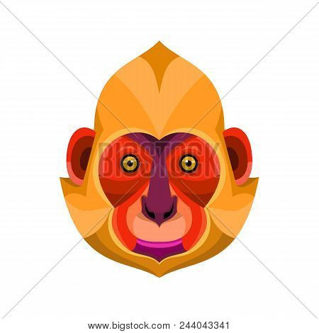 Flat Icon Illustration Of Mascot Head Of A White-headed, Golden-headed Or Cat Ba Langur Viewed From