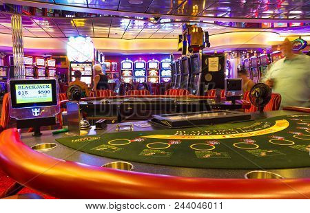 Cape Canaveral, Usa - April 30, 2018: Slot Machines In The Casino On A Cruise Ship Or Cruise Liner O