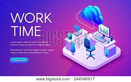 Work And Cloud Internet Vector Illustration Of Smart Office Or Workplace With Router Connection. Clo