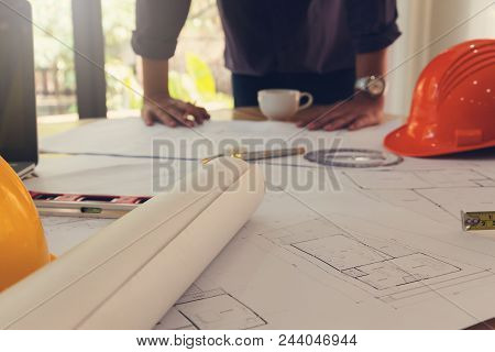 Architect Concept, Architects Office Working With Blueprints