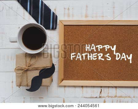 Happy Father's Day Concept. 17 June Wooden Block Calendar, Tie, Board With Happy Father's Day Text A