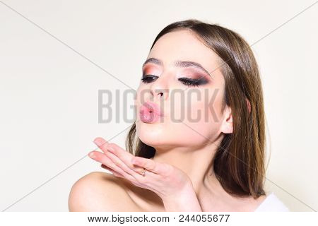 Beauty And Hairdresser. Trendy Woman With Stylish Hair And Fashionable Makeup. Fashion Look Concept.