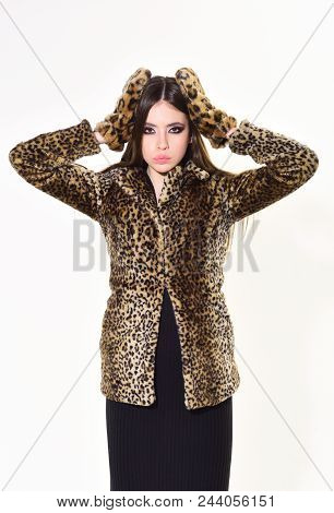 Woman In Leopard Fur Coat Isolated On White. Leopard Fur At Stylish Girl. Fur Coat Boutique With Nat