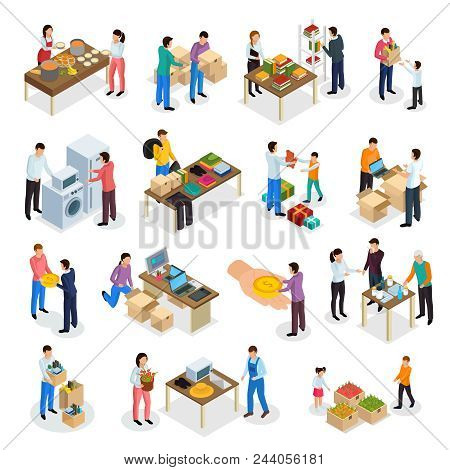 Sharing Economy Isometric Icons Collection Of Isolated Human Characters Of People Sharing Clothes Go