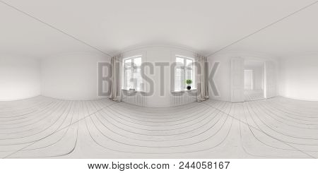 Spherical 360 panorama projection Interior empty room 3D rendering