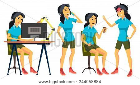 Office Worker Vector. Woman. Professional Officer, Clerk. Business Japanese Female. Lady Face Emotio