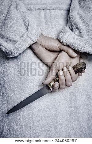 Killer Woman With A Knife. Violence Aggression. Criminal Murderer. Assassin