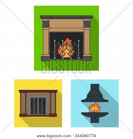 Different Kinds Of Fireplaces Flat Icons In Set Collection For Design.fireplaces Construction Vector