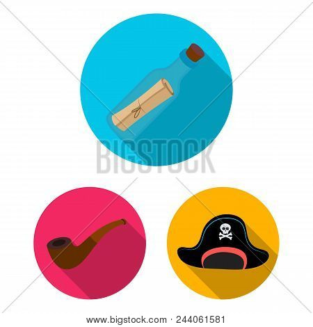 Pirate, Sea Robber Flat Icons In Set Collection For Design. Treasures, Attributes Vector Symbol Stoc