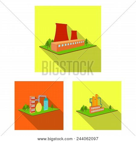 Factory And Plant Flat Icons In Set Collection For Design. Production And Enterprise Vector Isometri