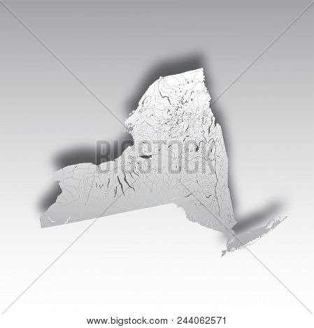 U.s. States - Map Of New York With Paper Cut Effect. Hand Made. Rivers And Lakes Are Shown. Please L