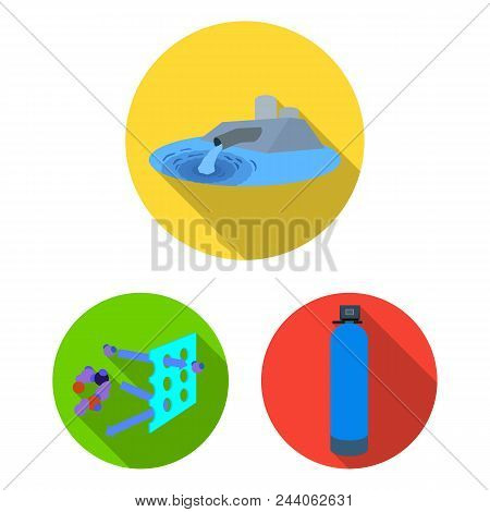 Water Filtration System Flat Icons In Set Collection For Design. Cleaning Equipment Vector Symbol St
