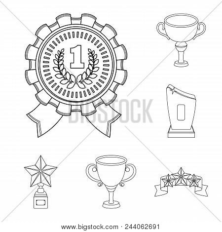Awards And Trophies Outline Icons In Set Collection For Design.reward And Achievement Vector Symbol